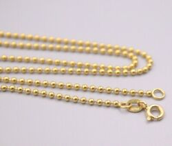 Pure 18k Yellow Gold 1.8mm Bead Link Chain Necklace 50cm 20inch Stamp Au750