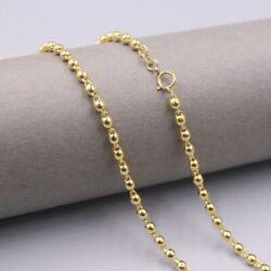 Pure 18k Yellow Gold 3mm Bead Link Chain Necklace 50cm 20inch Stamp Au750