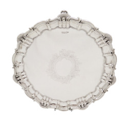 Antique Edwardian Sterling Silver 12 Tray/salver - 1909