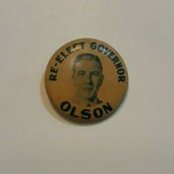 1932 Button 7/8 Re-elect Floyd B Olson For Governor Of Minnesota