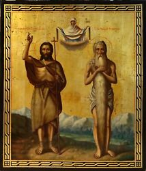 Russian Icon Two Saints St.john The Baptist And Onouphrios The Egiptian.
