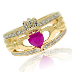 Claddagh Ruby And Natural 20 Diamond 9k 9ct 375 Solid Gold Celtic Ring