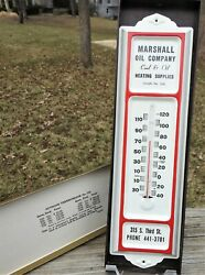 Old Salesman's Sample Tin Thermometer Marshall Oil Co Advertising Unused In Box