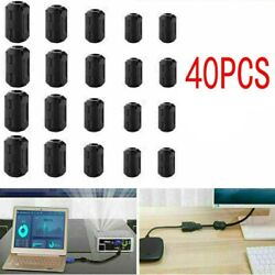 40x Ring Core Ferrite Bead Clamp Choke Coil Emi Rfi Noise Filter Clip Snap Cable