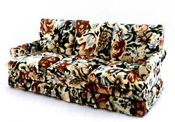 Dolls House 1950and039s Floral Chintz 3 Seater Sofa Miniature Living Room Furniture