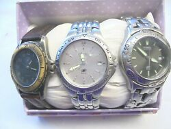 Lot Of 3 Fossil Mens Watches All Need Batteries, 2 Silver 1 Band. Good