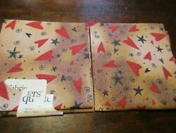 Cotton Fabrics Lot of 2 Fat Quarters Red Hearts amp; Black Stars on Brown