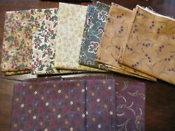 Cotton Fabrics Moda Lot of Coordinated Kansas Troubles Gold Red Green Florals