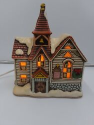 Vintage 1987 Lefton Colonial Village Church Christmas Lighted House