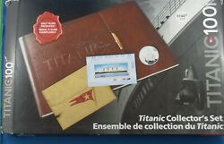 2012 Titanic Collector's Coin And Stamp Set - Brown Leather Album In Sleeve ..