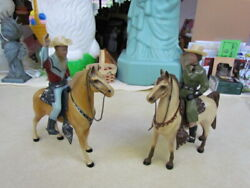Vintage 1950's Hartland Roy Rogers And Dale Evans On Horses With Hats