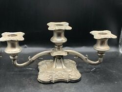 Vintage / Antique Silver Plated 3 Branch Table Centerpiece Candelabra Candle