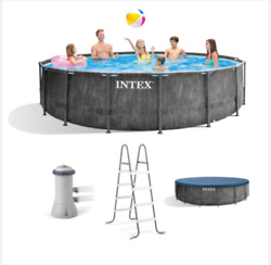 Intex 15ft X 48in Greywood Prism Steel Frame Pool Set With Cover, Ladder, And Pump