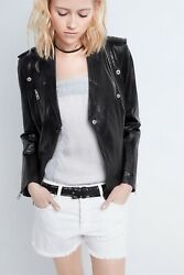 Zadig And Voltaire Loon Spi Leather Jacket Biker Xs Black Spring 2021