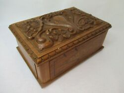 Old Wood Carving Casket Cigar Box Jewelry Box With Inlaid Um 1900