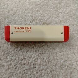 Vintage Red Thorens Color Harmonica 63 Original Box Pamphlet Made In Switzerland
