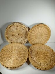 """10 Vintage Wicker Rattan Paper Plate Holders Picnic Bbq Camping Retro 9.5"""""""