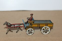 Very Nice 1920's Tin Penny Toy Horse Drawn Wagon With Driver Made In Germany