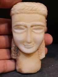 An Extreme Rare South Arabian Alabaster Stone Head Of A Woman. Stone