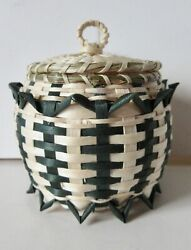Small Button Basket Natural And Green, Pam Cunningham Penobscot