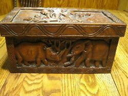 Wood Handcarved Jewelry Box Nyla From Daddy W/ Love Animals Deer Lion Elephant
