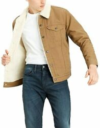 Leviand039s Menand039s Big And Tall Sherpa Trucker Jacket Cougar Canvas 588970004