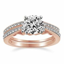 14k Rose Gold 1.00ct Round Diamond Solitaire W/accents Wedding And Band Ring