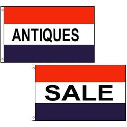 3x5 Rwb Sale And Antiques Business Flags Set Of 2 Poly Red White Blue Banner New