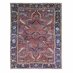 7'4x9'3 Antique Farsian Heris All Over Design Wool Hand Knotted Rug R66506