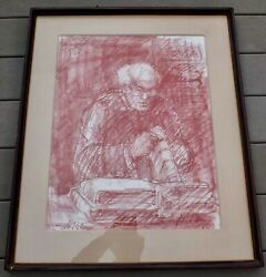 Joseph R. Areno Pastel Drawing Le Relieur The Bookbinder In Handmade Frame