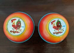 Vintage Wolverine Tin Litho Cookware Toy Childs Kitchen Set Rooster Bowl 2