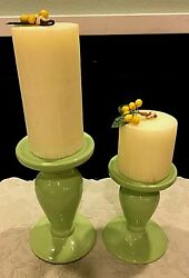 Wow Two Very Nice Candle Stands With A Candle For Each