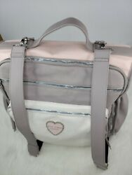 Betsey Johnson Backpack Diaper Bag Tote Changing Pad PINK GREY HEART PEARLS $65.00