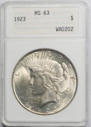 1923 1 Peace Dollar Anacs Ms 63 Uncirculated Genie Lamp Holder