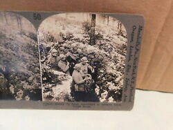 Vtg Stereoscope Card Wwi Setting Up Search Light In Vosges Sector