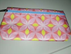 Clinique Makeup Cosmetic Travel Bag Pouch Pink Yellow Floral NEW 9x5 inches $4.99
