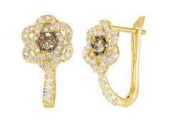 0.62 Ct Champagne And White Natural Diamond Flower Hoop Earrings 10k Yellow Gold