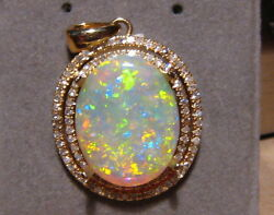 Large 4.51 Ct Very Spakly Opal And Diamond 14k Yellow Gold Pendant
