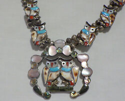 Southwest Sterling Squash Bloosom Necklace W Inlay Stones In Owls 28 Neckwear