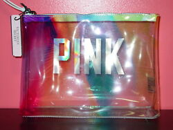 VICTORIA#x27;S SECRET PINK CLEAR COSMETIC BAG BRAND NEW PALM TREES NWT TRAVEL PURSE $16.95