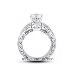 1.47ct H-vs2 Round Natural Certified Diamonds 14k Vintage Style Side-stone Ring
