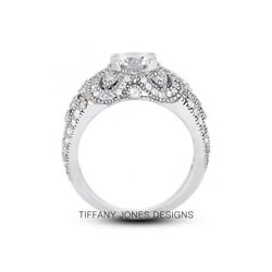 1ct E Vs2 Round Natural Certified Diamonds 950 Pl. Vintage Style Side-stone Ring