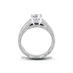 1 1/4ct D Si2 Round Natural Diamonds 18k Vintage Style Side-stone Ring