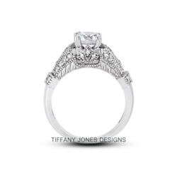 1.16ct F-si1 Round Natural Certified Diamonds 14k Vintage Style Sidestone Ring