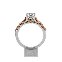 1.14ct H-si1 Round Natural Certified Diamonds 18k Vintage Style Sidestone Ring