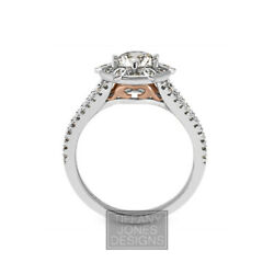 1 1/2ct G Si2 Coupe Ronde Naturel Certifiandeacute Diamants 18k Or Halo Side-stone Ring