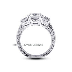 1.14ct G-si1 Round Natural Diamonds 950 Pl. Vintage Style Engagement Ring