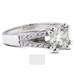 1 1/4 Ct H Si1 Round Cut Natural Certified Diamonds 14k Gold Side-stone Ring