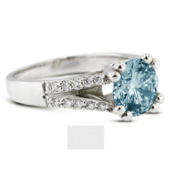 1 1/2 Ct Blue Si1 Round Cut Natural Certified Diamonds 14k Gold Side-stone Ring