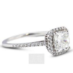 0.90ct D-si1 Princess Earth Mined Certified Diamonds 18k Halo Side-stone Ring
